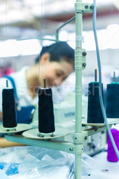 Indonésio têxtil fábrica asiático trabalhador de costura Foto stock © Kzenon