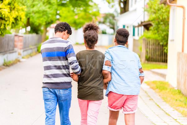 Siblings walking down the village road Stock photo © Kzenon
