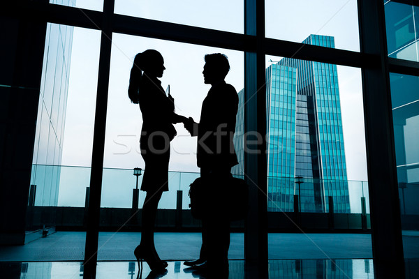 Silhouettes of backlit business people handshake Stock photo © Kzenon