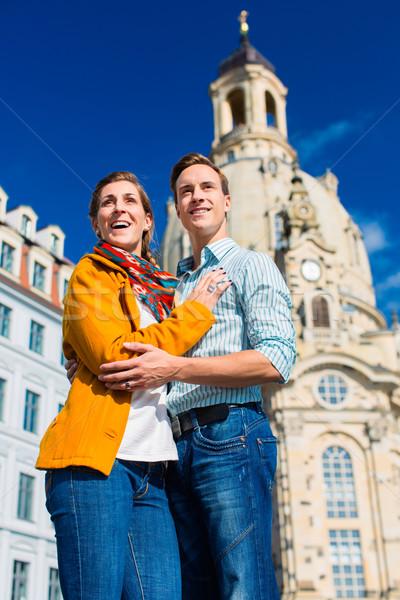 Tourism - couple at Frauenkirche in Dresden Stock photo © Kzenon