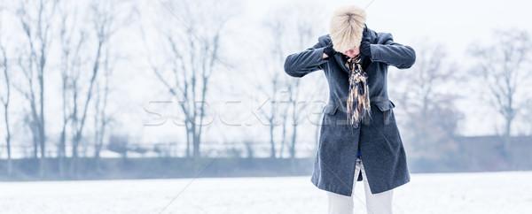Idős nő kiégés tél sétál egyedül Stock fotó © Kzenon