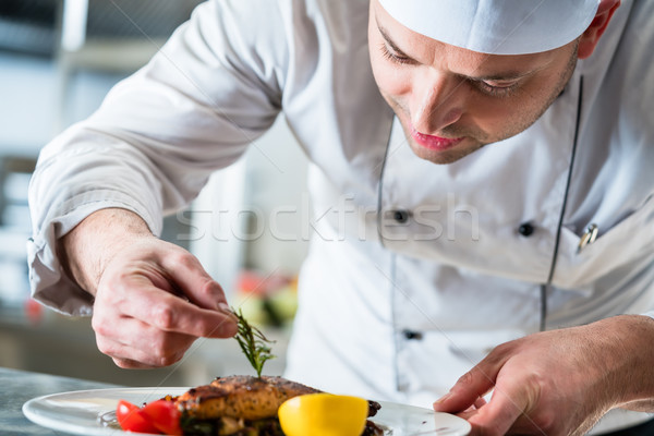 Chef garnishing the food on plate to complete the dish Stock photo © Kzenon