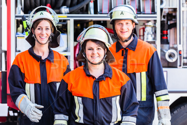 Group photo of fire fighters crew Stock photo © Kzenon