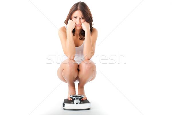 Seduta scala dieta peso donna Foto d'archivio © Kzenon