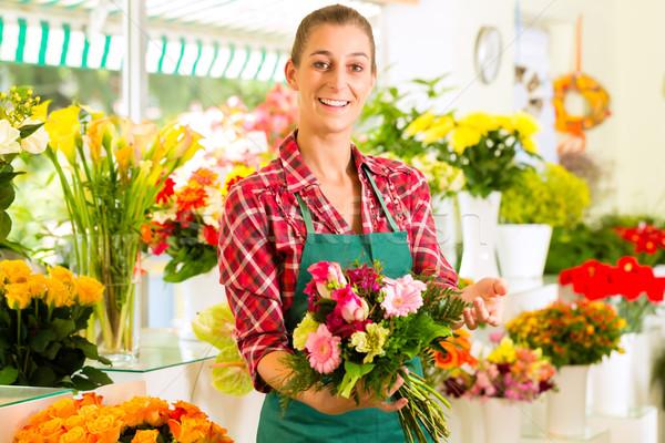 女性 花屋 花屋 バラ ストックフォト © Kzenon