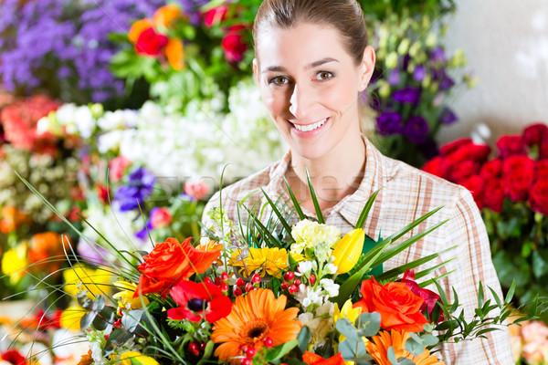 Foto stock: Femenino · florista · vivero · ramo