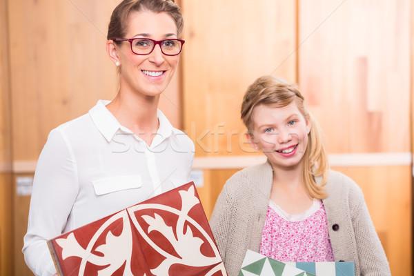 Familie vloer tegels home improvement store cement Stockfoto © Kzenon