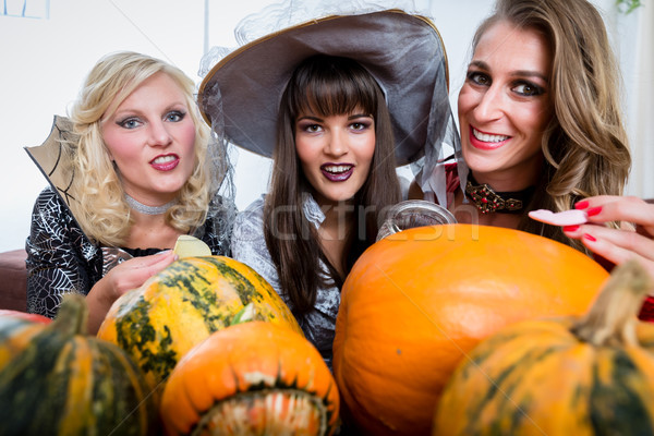 Legjobb barátok osztás cukorkák ünnepel halloween költség Stock fotó © Kzenon