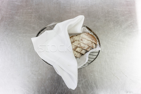 Bread basket waiting to be picked up in restaurant kitchen Stock photo © Kzenon