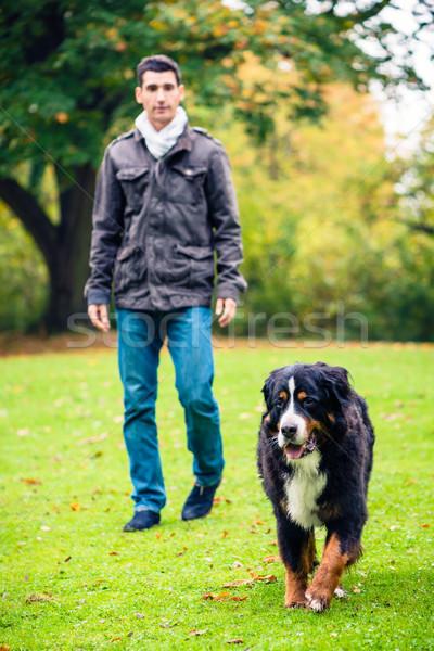 Man walking his dog in fall park Stock photo © Kzenon