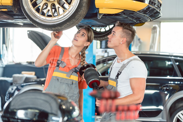 Experienced female auto mechanic with her colleague Stock photo © Kzenon