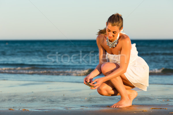 Women looking for sea shells in romantic sunset Stock photo © Kzenon