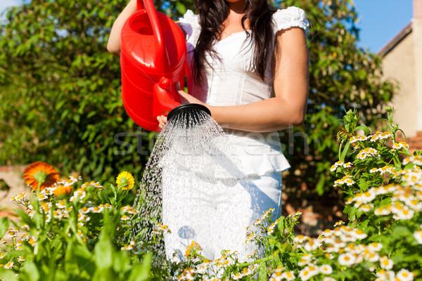 Gardening in summer - woman watering flowers Stock photo © Kzenon