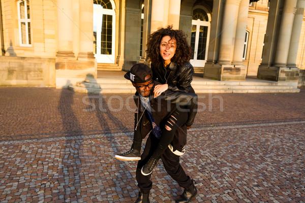 Africano americano homem mulher piggyback amor Foto stock © Kzenon