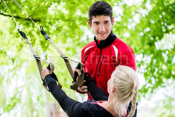 спорт женщину тренер подготовки счастливым Сток-фото © Kzenon