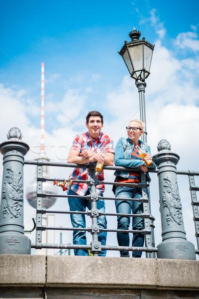 Stock photo: Berlin tourists enjoying view from bridge at the Museum Island