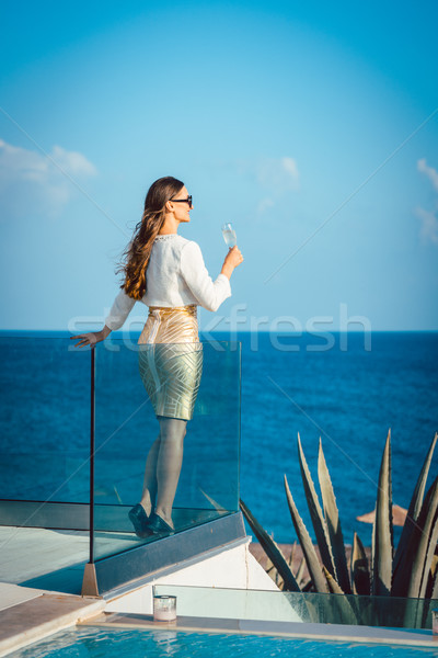 Woman enjoying glass of champagne at the sea Stock photo © Kzenon
