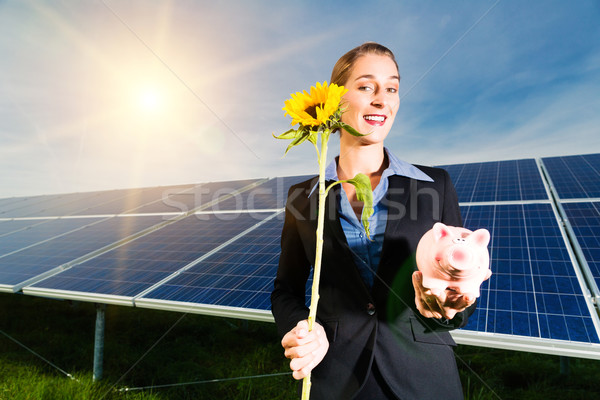 Green Energy - Solar panels with blue sky Stock photo © Kzenon