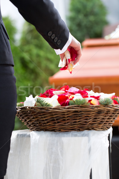 Woman mourning on Funeral with coffin Stock photo © Kzenon