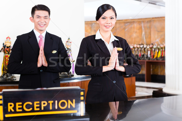 Chinese asian receptie team hotel Stockfoto © Kzenon