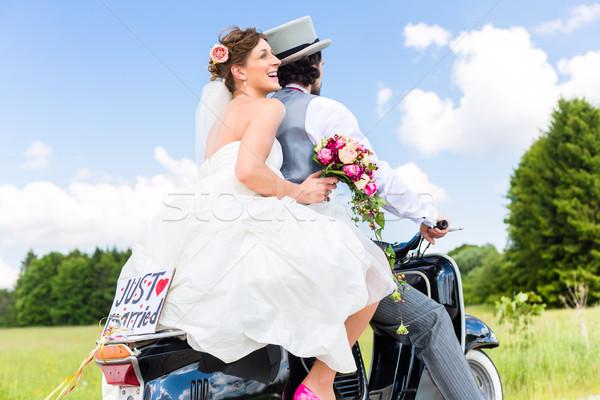 結婚式 カップル モータ スクーター 新郎 ストックフォト © Kzenon