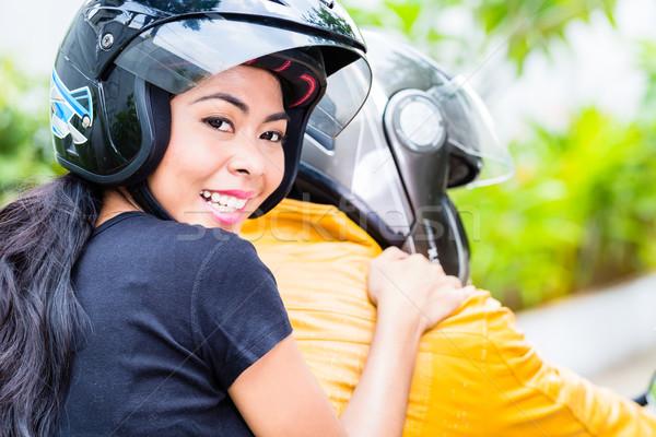 Сток-фото: азиатских · пару · верховая · езда · мотоцикл · жена · сидят