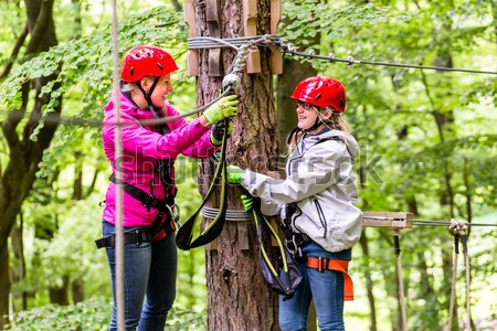 Girl seen from above climbing in high rope course Stock photo © Kzenon