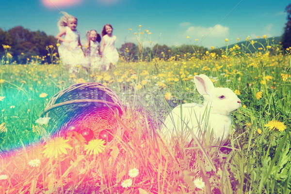 Children on Easter egg hunt with bunny Stock photo © Kzenon