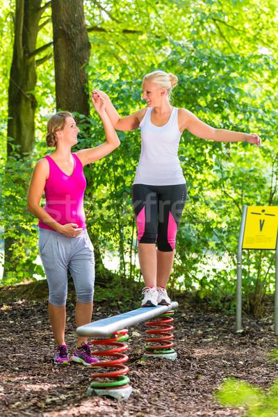 Woman balances getting help from pregnant training partner Stock photo © Kzenon
