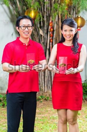 Família ano novo chinês casal celebrar tradicional Foto stock © Kzenon