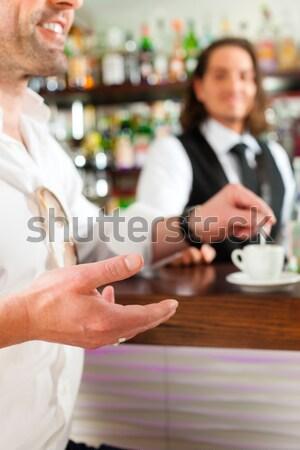 Barista cappuccino café main Photo stock © Kzenon