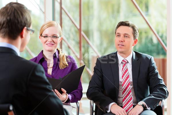 человека интервью менеджера партнера занятость работу Сток-фото © Kzenon