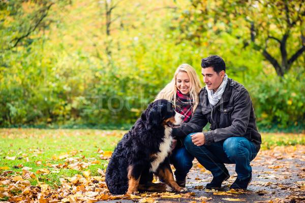 Stock photo: Couple with dog enjoying autumn in nature