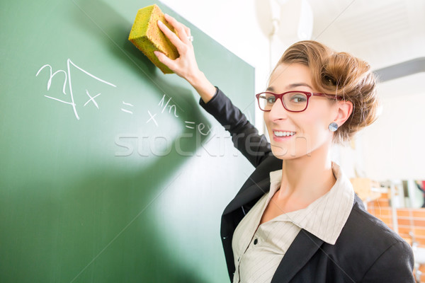 Teacher with a sponge in front of a school class Stock photo © Kzenon