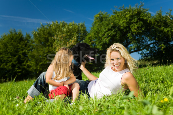 Mother with child and dog Stock photo © Kzenon