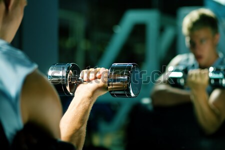 Dumbbell, man, mirror Stock photo © Kzenon