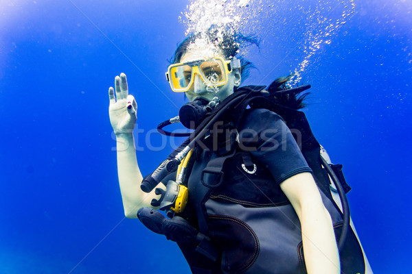 Woman scuba diving in her vacation giving the ok sign Stock photo © Kzenon