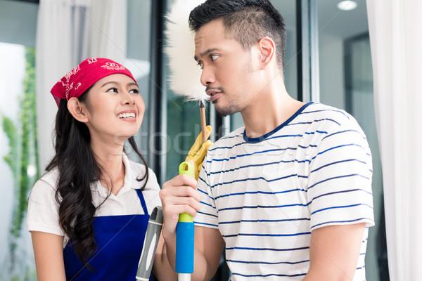 Zdjęcia stock: Asian · para · czyszczenia · domu · indonezyjski · żona