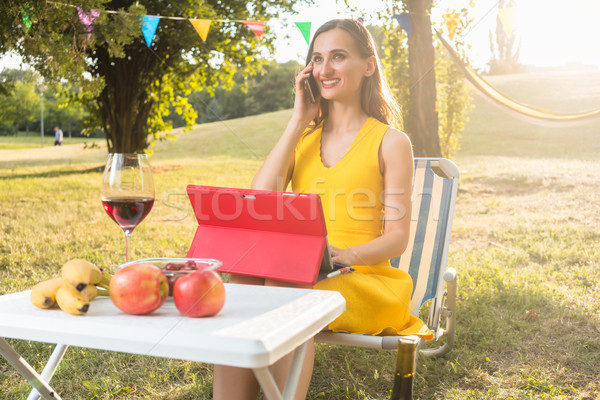 Successful female entrepreneur managing business sitting on picn Stock photo © Kzenon