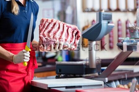женщину мясник магазин мяса филе Сток-фото © Kzenon