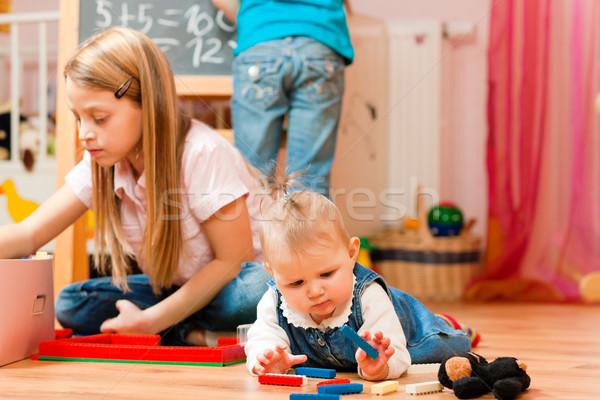 Children playing at home Stock photo © Kzenon