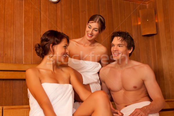 Trzy osoby znajomych sauna jeden mężczyzna dwa Zdjęcia stock © Kzenon