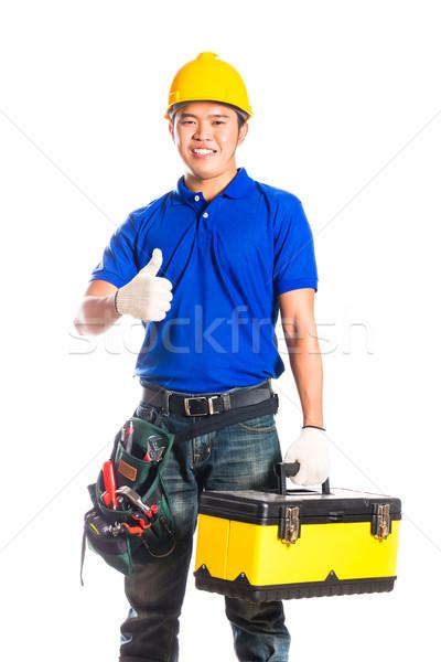 Asian construction  worker with tools Stock photo © Kzenon