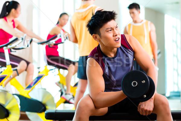 Stok fotoğraf: Asya · insanlar · egzersiz · spor · uygunluk · spor · salonu