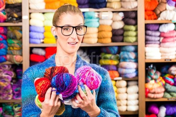 Young women in knitting shop Stock photo © Kzenon