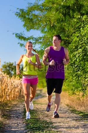Asian para jogging uruchomiony parku fitness Zdjęcia stock © Kzenon