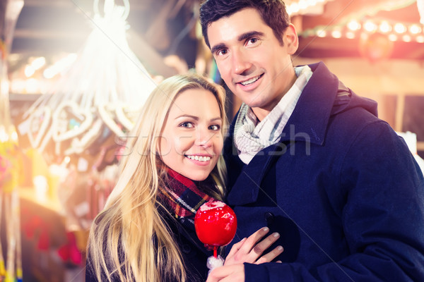 Foto stock: Pareja · dulce · manzana · Navidad · mercado · mujer