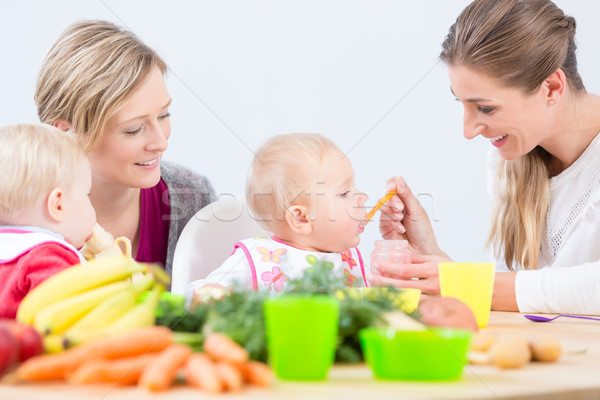 Portrait of a mother learning from her best friend how to prepare healthy food Stock photo © Kzenon