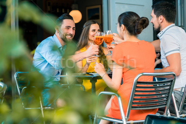 Cheerful friends toasting with a refreshing summer drink Stock photo © Kzenon