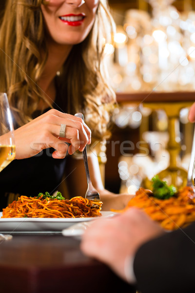 happy couple have a romantic date in restaurant Stock photo © Kzenon